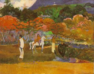 Women And White Horse by Paul Gauguin