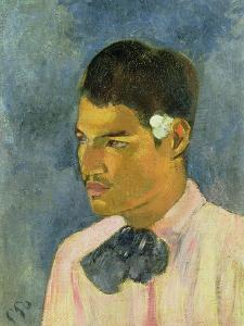 Young Man with a Flower Behind His Ear, 1891 by Paul Gauguin