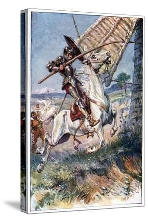 And Running His Lance into the Sail, Illustration from 'The Adventures of Don Quixote', Published…