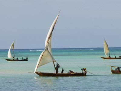 East Africa, Tanzania, Zanzibar, A Traditional Dhow, India, and East Africa