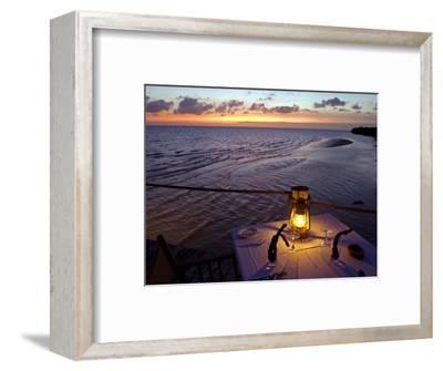 Sunset Dining on the Jetty, Fundu Lagoon Resort, Pemba Island, Zanzibar, East Africa