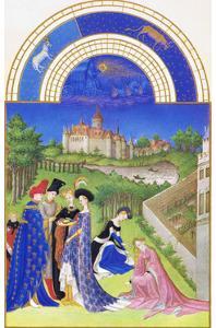 Le Tres Riches Heures Du Duc De Berry - April by Paul Herman & Jean Limbourg
