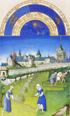 Le Tres Riches Heures Du Duc De Berry - June by Paul Herman & Jean Limbourg