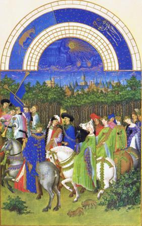 Le Tres Riches Heures Du Duc De Berry - May by Paul Herman & Jean Limbourg
