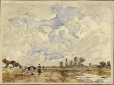Matin heureux, sur un chemin longeant une rivière une femme et un cheval marchant