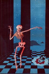 The Skeleton of Salome Dancing Beside the Head of Kaiser Wilhelm Lying in a Pool of Blood on a… by Paul Iribe