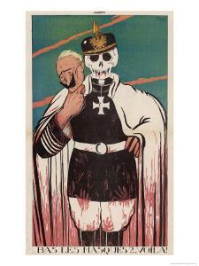 Wilhelm II German Emperor Removes His Mask to Reveal the Skull Underneath by Paul Iribe