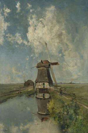 A Windmill on a Polder Waterway, C. 1889 by Paul Joseph Constantin Gabriel
