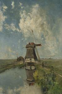 A Windmill on a Polder Waterway, C. 1889 by Paul Joseph Constantin Gabriel