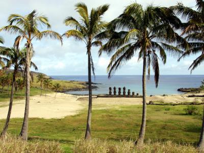 Anakina Beach and Moai Statues of Ahu Nau Nau