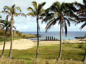 Anakina Beach and Moai Statues of Ahu Nau Nau by Paul Kennedy