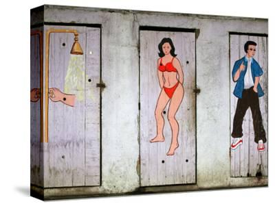Colourful Toilet and Shower Doors at Beachfront Bar