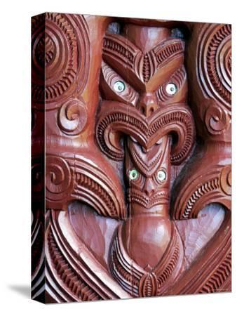 Detail of Carving on Entrance to Takitimu Marae Meeting House, Wairoa, New Zealand