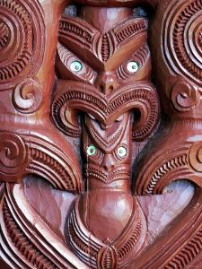 Detail of Carving on Entrance to Takitimu Marae Meeting House, Wairoa, New Zealand by Paul Kennedy