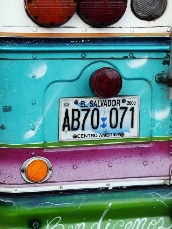 Detail of Numberplate at Back of 'Chicken Bus', Most Common Transport in El Salvador