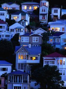 Houses on Hillside at Oriental Bay, Wellington, Wellington, New Zealand by Paul Kennedy