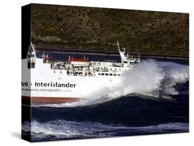 Interislander Ferry Aratere in a Heavy Swell at Mouth of Wellington Harbour, New Zealand
