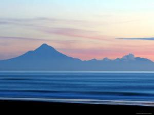 Mount Taranaki at Twilght from Moaku Beach, Mokau by Paul Kennedy