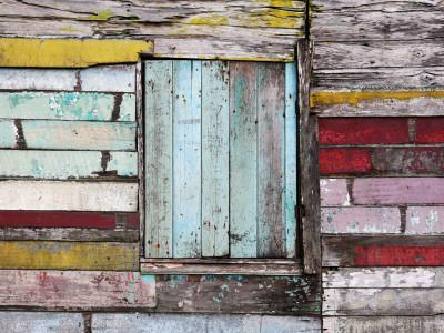 Wall and Window Detail of Rustic Wooden House