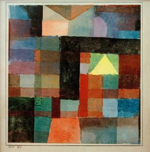 Space Architecture with The Yellow Pyramid / Cold-Warm, 1915 by Paul Klee