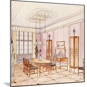Design for a Dining Room, from 'Documents Architecture Moderne' (Colour Litho) by Paul Ludwig Troost