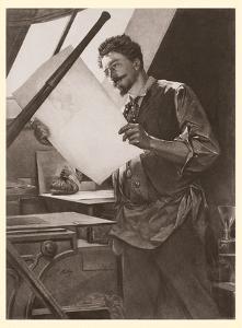 Belgian Printmaker Félicien Rops in his Studio by Paul Mathey