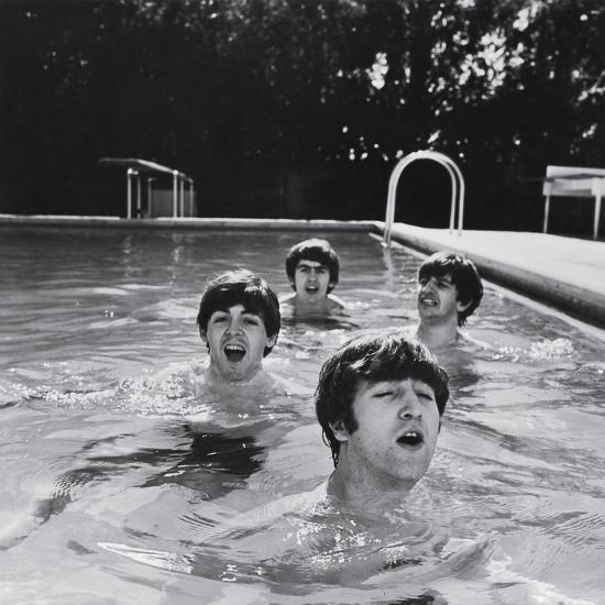 Paul McCartney, George Harrison, John Lennon and Ringo Starr Taking a Dip in a Swimming Pool-John Loengard-Premium Photographic Print