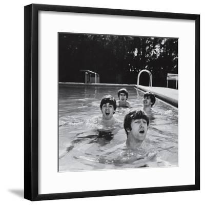 Paul McCartney, George Harrison, John Lennon and Ringo Starr Taking a Dip in a Swimming Pool-John Loengard-Framed Premium Photographic Print