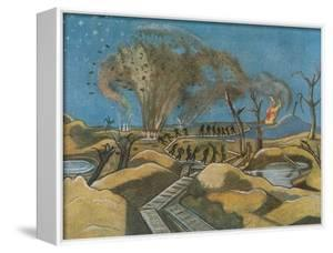 Shelling the Duckboards, from British Artists at the Front, Continuation of the Western Front, 1918 by Paul Nash
