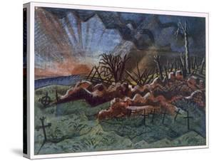 Sunrise, Ruins of a Hospice, Northwest of Wytschaete, Destroyed by Bombardment in 1917 by Paul Nash
