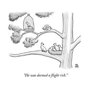 A bird in a birdcage sits on a tree branch, as more birds in a nearby nest? - New Yorker Cartoon by Paul Noth
