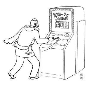 """A Jewish man wielding a scalpel is playing a game called """"Bris-a-mole"""" - New Yorker Cartoon by Paul Noth"""