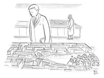 A laboratory scientist looks on as the walls of a small maze are divided b? - New Yorker Cartoon by Paul Noth