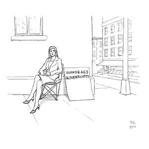 Angry woman on street corner with giant sign. - New Yorker Cartoon by Paul Noth