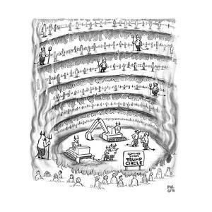 """Construction work in Hell, with a sign that says, """"Coming Soon Trump Circl - New Yorker Cartoon by Paul Noth"""