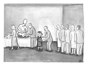 People are in line to be served portions of a roasted pig. Shaking hands a? - New Yorker Cartoon by Paul Noth