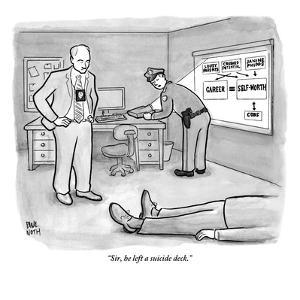 """""""Sir, he left a suicide deck."""" - New Yorker Cartoon by Paul Noth"""
