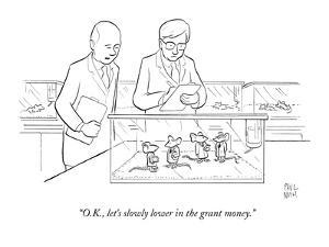 Two scientists in lab coats observe a group of caged lab rats who are also? - New Yorker Cartoon by Paul Noth