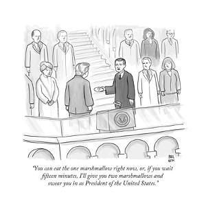 """""""You can eat the one marshmallow right now, or, if you wait fifteen minute... - New Yorker Cartoon by Paul Noth"""