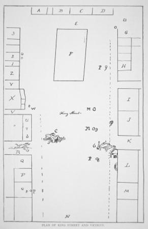 Plan of the Boston Massacre of 1770 Used at the Trial of the British Troops by Paul Revere