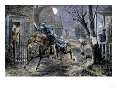 Paul Revere's Ride to Rouse Minutemen before the Battle of Lexington, April 19, 1775--Giclee Print