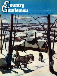 """""""Maple Sap Harvest at Dusk,"""" Country Gentleman Cover, March 1, 1942 by Paul Sample"""