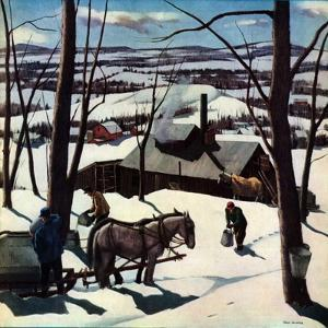 """""""Maple Sap Harvest at Dusk,""""March 1, 1942 by Paul Sample"""