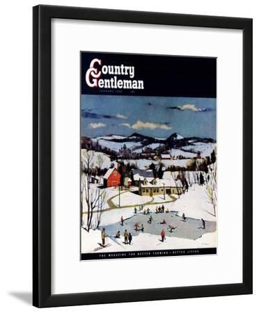 """Skating on Farm Pond,"" Country Gentleman Cover, January 1, 1950"