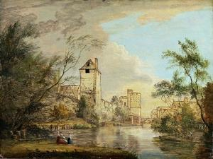 An Unfinished View of the West Gate, Canterbury, C.1790-1800 (Pen, Brown Ink and Oil on Paper) by Paul Sandby