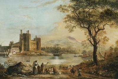Caernarvon Castle, with a Harper in the Foreground