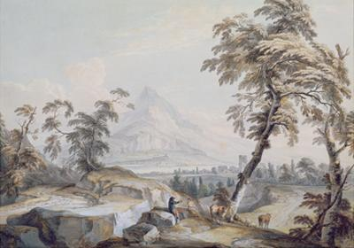 Italianate Landscape with Travellers, No.1 (W/C on Paper) by Paul Sandby
