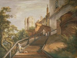 Part of the Hundred Steps and Winchester Tower, Windsor Castle (Gouache on Leather) by Paul Sandby