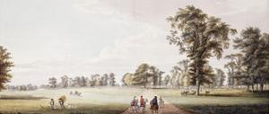 Riders in an Avenue in the Park at Luton, with Figures in a Phaeton and Rustics on the Left by Paul Sandby