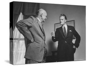 Evangelist Billy Graham Visiting with Pres. Dwight Eisenhower at the Wh by Paul Schutzer